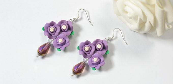 Pandahall Instruction on How to Make Purple Flower Bead Dangle Earrings