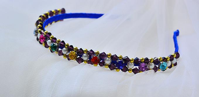 Pandahall Tutorial on How to Make Glass Beaded Headband with Blue Ribbon