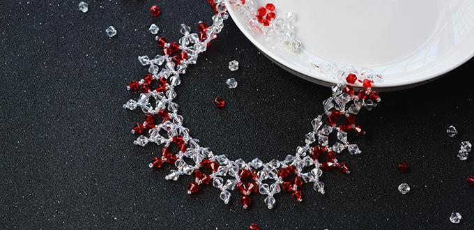How to Make Red and Clear Glass Beaded Collar Necklaces