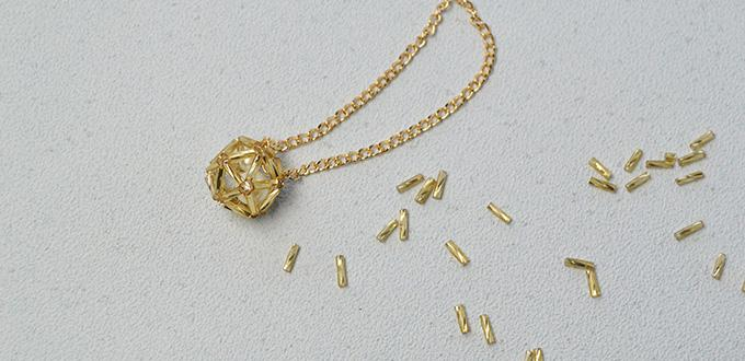 How to Make a Golden Chain Beaded Ball Pendant Necklace
