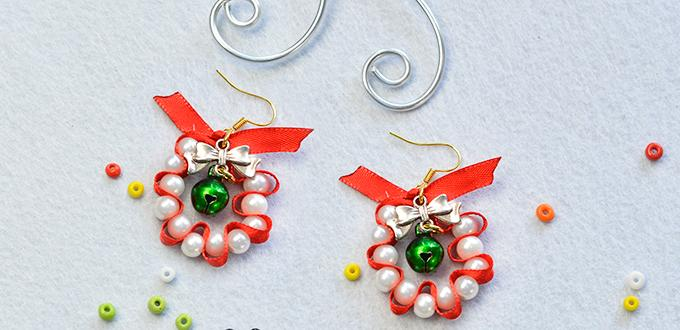 Pandahall Tutorial on How to Make Christmas Pearl Dangle Earrings with Red Ribbon