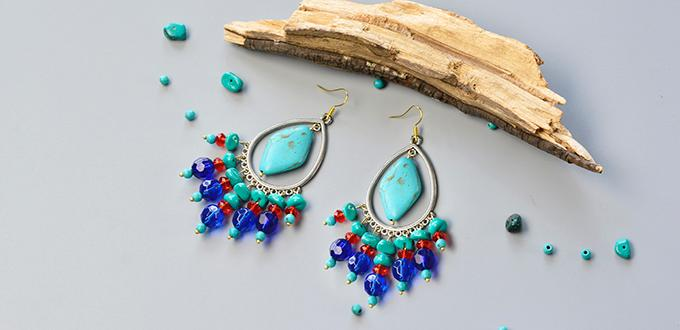 Pandahall original diy project how to make a pair of turquoise pandahall original diy project how to make a pair of turquoise bead chandelier earrings mozeypictures Images