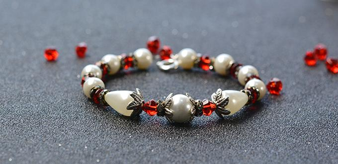 Easy Pandahall Project- How to Make Simple Flower Pearl Bracelet with Glass Beads