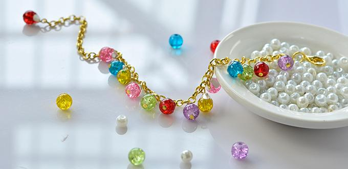 Pandahall Tutorial on How to Make Colorful Crackle Glass Beaded Chain Bracelet