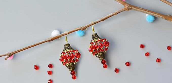 How to Make Vintage Style Christmas Earrings with Red Glass Beads