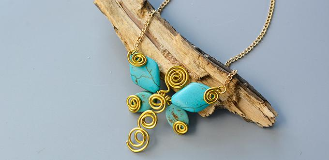 Pandahall Tutorial on How to Make Wire Wrapped Butterfly Pendant Necklace with Turquoise Beads