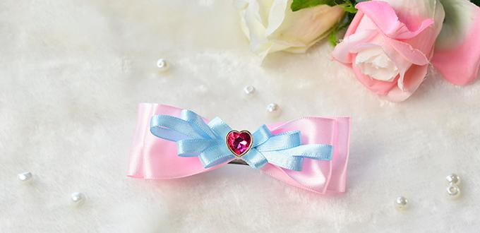 How to Make a Pink and Blue Ribbon Bow Hair Clip with Pink Heart Bead Decorated for Girls