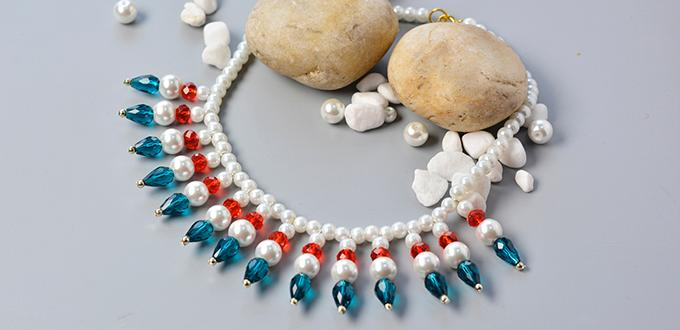Pandahall Tutorial on How to Make Elegant Glass Beads Necklace with Pearl Beads