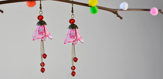 Pandahall Easy Project- How to Make Flower Ribbon Dangle Earrings with Glass Beads