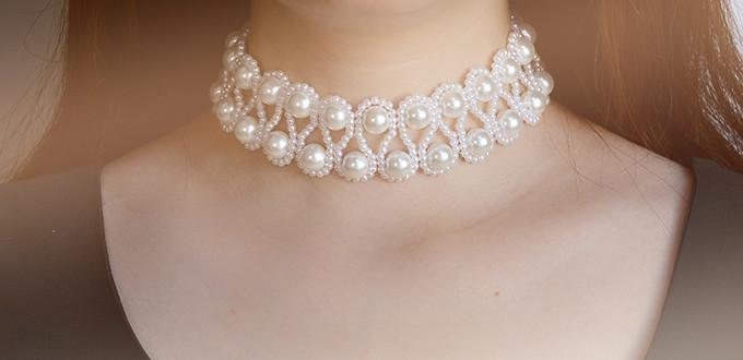 PandaHall Tutorial on How to Make Elegant Beaded Choker Necklace with White Pearl Beads