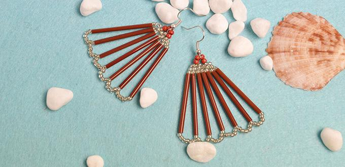 Pandahall Tutorial on How to Make Seed Beads Fan Earrings with Bugle Beads