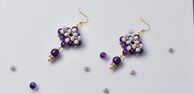 Pandahall Original DIY - How to Make a Pair of Purple Rhombus Glass Bead Drop Earrings