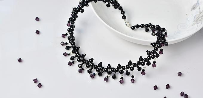 Pandahall Tutorial on How to Make Chic Black Glass Beads Necklace