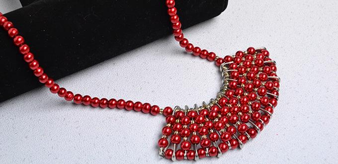 PandaHall DIY Project on How to Make Beaded Red Pearl Necklace for Christmas