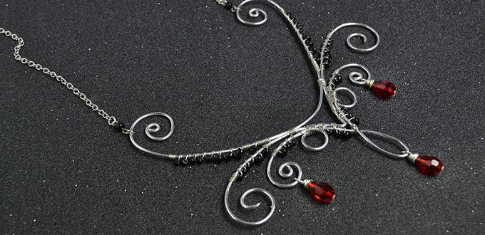 How to Make a Silver Wire Wrapped Necklace with Red Drop Glass Beads