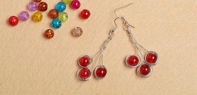 How to Make Wire Wrapped Earrings with Red Crackle Glass Beads in a Simple Way
