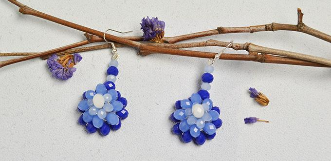 How to Make Beaded Flower Earrings with Blue and White Imitation Jade Beads