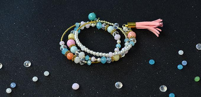 Easy Tutorial on How to Make a Beaded Multi Strand Bracelet with a Leather Tassel