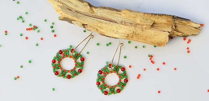 Tutorial on Making Christmas Hoop Earrings with Seed Beads and Glass Beads