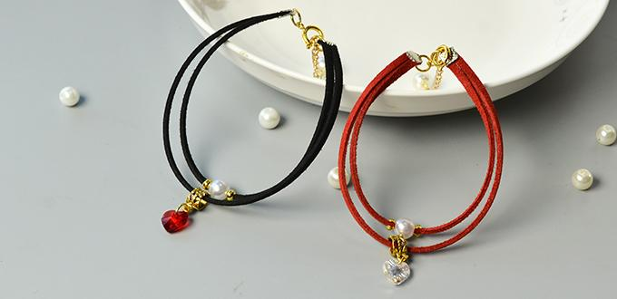 PandaHall Tutorial on Making Simple Couple Bracelets with Suede Cord and Heart Beads