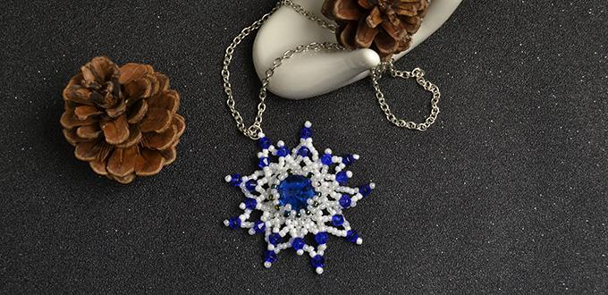 Pandahall Original DIY – How to Make a Seed Beaded Snowflake Pendant Necklace with Silver Chain