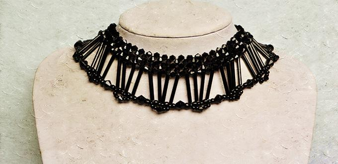 Pandahall Video Tutorial - How to Make a Black Glass Bead and Seed Bead Collar Necklace