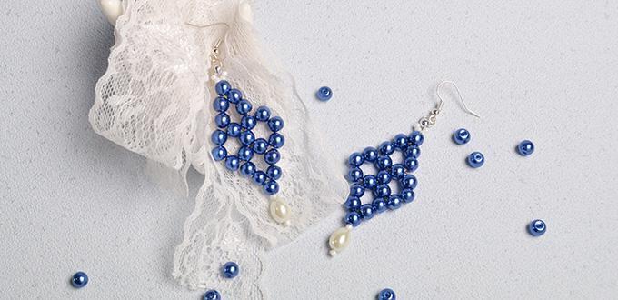 Pandahall Tutorial on How to Make Elegant Blue Pearl Beaded Drop Earrings