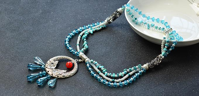 Pandahall Original DIY Project - How to Make a Three-strand Blue Beaded Necklace