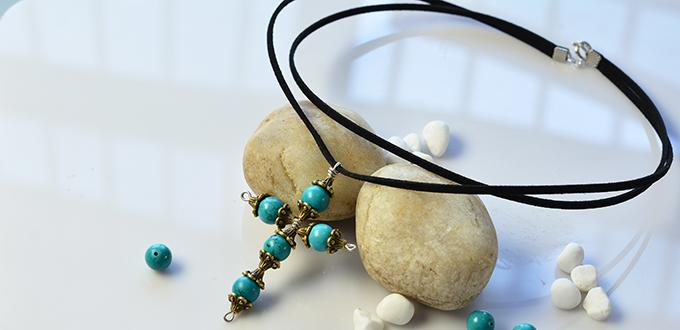 Pandahall Tutorial on How to Make a Simple Cross Pendant Necklace with Turquoise Beads