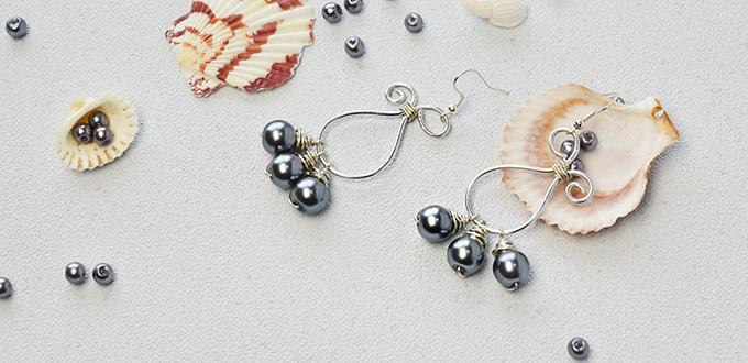 Pandahall Tutorial on How to Make Pearl Beaded Wire Wrapped Dangle Earrings
