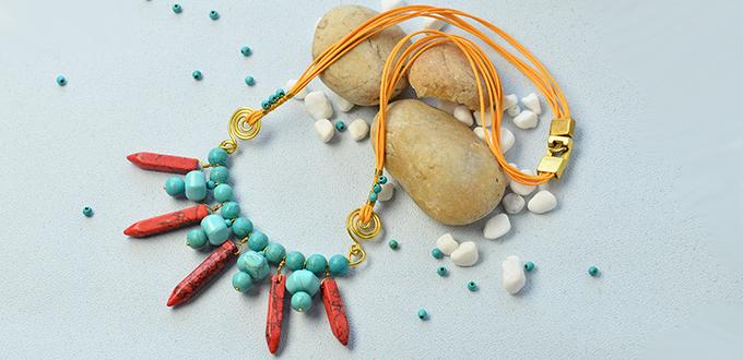 How to Make a Turquoise Bead Pendant Necklace with Bullet Gemstone Bead Dangles