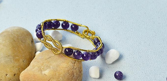 Pandahall Tutorial on How to Make a Wire Wrapped Amethyst Beads Bangle Bracelet