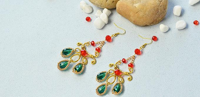 How to Make a Pair of Golden Wire Wrapped and Glass Bead Drop Earrings with Golden Seed Beads