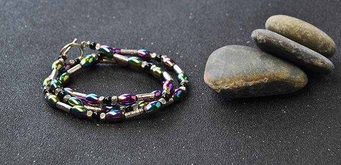 How to Make Tibetan Triple Strands Hematite Beaded Bracelet