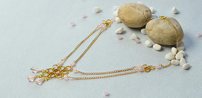 Pandahall Tutorial on How to Make a Golden Chain Bead Necklace with Jump Rings
