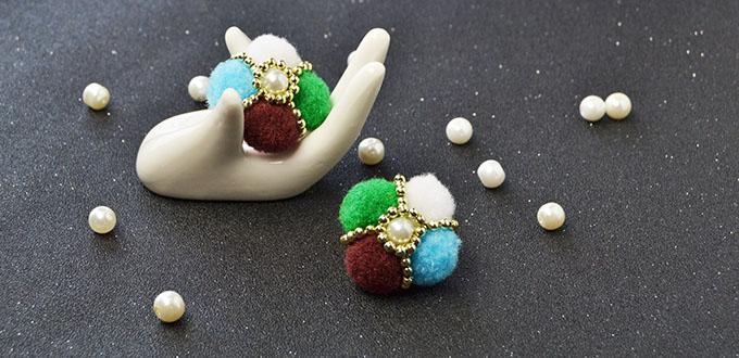Easy Earring Pattern - How to Make a Pair of Colorful Pom Pom Ball Flower Stud Earrings