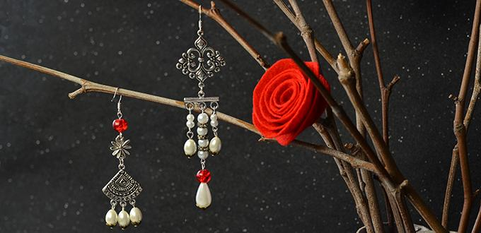 How to Make a Pair of Asymmetry Vintage Style Drop Earrings with White Pearl Drop Beads