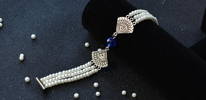 Pandahall Original DIY Project - How to Make a 3-Strand Pearl Bead Bracelet with Fan Links