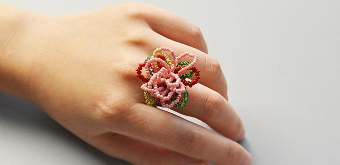 Pandahall Original Project-How to Make Flower Seed Beads Ring in Two Steps