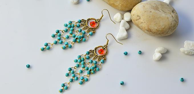 Pandahall tutorial on how to make vintage style turquoise bead pandahall tutorial on how to make vintage style turquoise bead chandelier earrings mozeypictures Choice Image