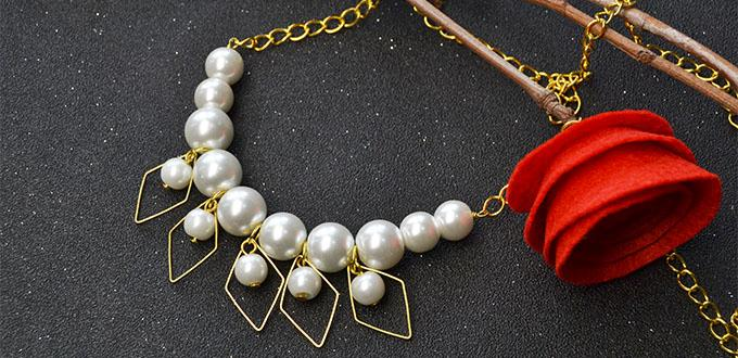 How to Make Pretty Pearl Beaded Chain Necklace for Wedding