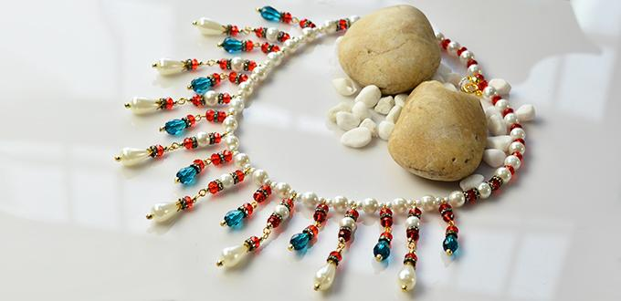 How to Make Elegant Drop Glass and Pearl Beads Bib Necklace