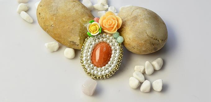 PandaHall Tutorial on How to Make an Elegant Pearl Bead Brooch with Gemstone Decorated
