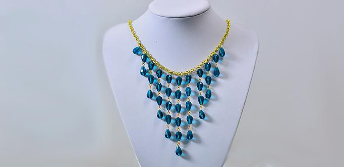 Simple Tutorial on How to Make Blue Drop Pendant Necklace