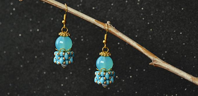 Blue Beaded Cluster Earrings Design - Tutorials to Make 2 - Hole Beads Earrings