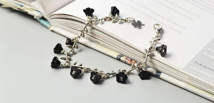 Pandahall Original DIY - How to Make Black Morning Glory Charm Bracelet
