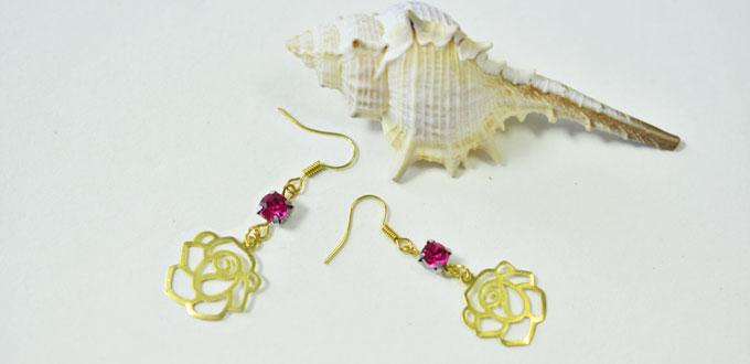 How to DIY a Pair of Golden Rose Beaded Dangle Earrings