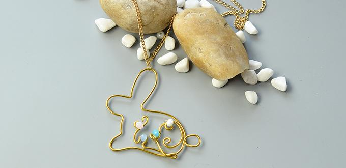 Easy Tutorials on Wire Wrapped Easter Bunny Pendant Necklace