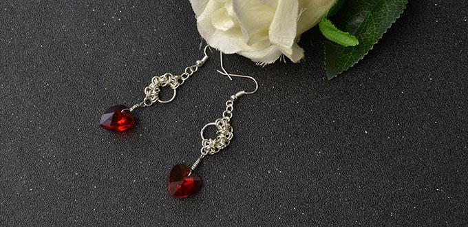 Beebeecraft tutorials on how to make Red heart dangle Earrings