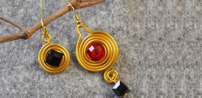 Beebeecraft Tutorial on Making Easy Asymmetrical Wire Wrapped Dangle Earrings